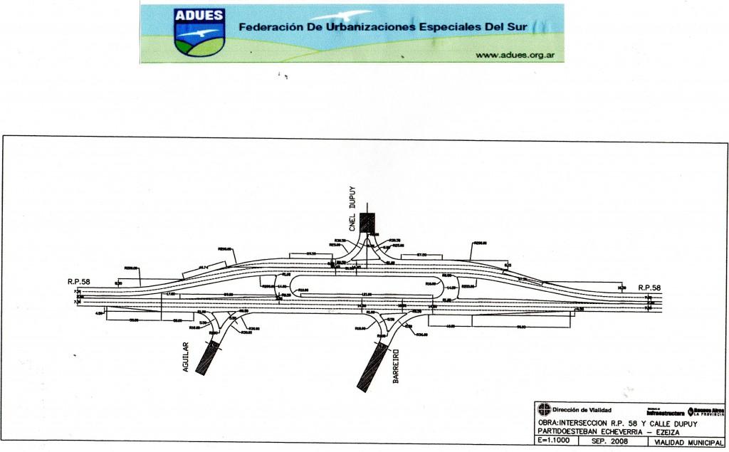 Plano de rotonda boulevard Dupuy y Ruta 58